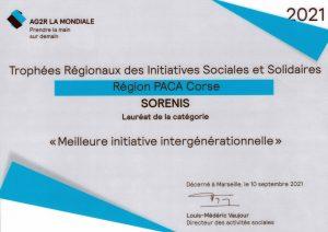 Sorenis, lauréat régional de la meilleure initiative intergénérationnelle 2020-2021 PACA-CORSE par l'AG2R La Mondiale